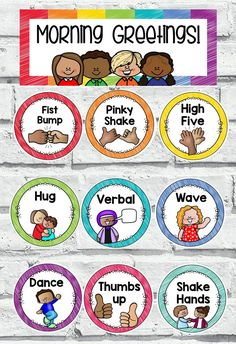 Morning Greetings Choice Cards & Signs Use these class greeting choice cards as a way to welcome your children in the morning or say goodbye [. Classroom Welcome, Classroom Labels, Classroom Behavior, Classroom Rules, Classroom Setting, Kindergarten Classroom, Future Classroom, Classroom Organization, Classroom Management