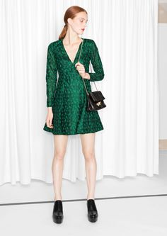 & Other Stories image 1 of Embroidered V-Neck Dress  in Green