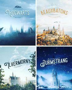 Harry Potter Wizarding Schools: Hogwarts of Scotland, Beauxbatons of France, Durmstrang of Scandinavia, and Ilvermorny of America. Harry Potter World, Memes Do Harry Potter, Estilo Harry Potter, Fans D'harry Potter, Arte Do Harry Potter, Theme Harry Potter, Yer A Wizard Harry, Harry Potter Love, Harry Potter Universal
