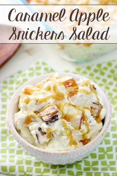 This Caramel Apple Snickers Salad is deliciously sweet treat perfect for fall! Apples and Snickers candy bars are combined with a creamy pudding mixture, then drizzled with caramel!