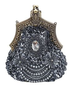 Beaded Evening Vintage Victorian Style Purse/ Handbag Accented w/ Rhinestones and Sequins (Different Colors Available) (Pewter)