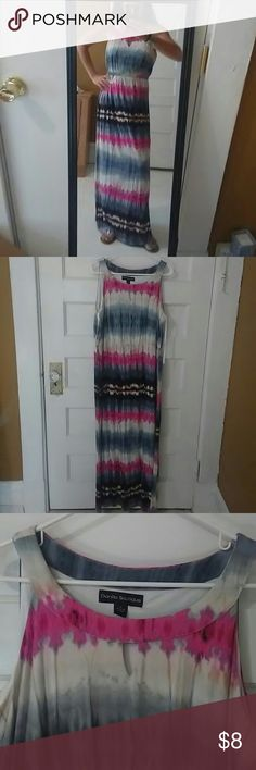 "Tie-Dye Maxi Dress 95% Polyester, 5% Spandex multi-colored maxi dress - hot pink, light/dark grey, black, tan, off-white. Ties in back and has keyhole opening in front. Total length from top of shoulder to bottom of dress is 58"". I'm 5'5"" and it's the perfect length for me. Very flowy and comfy. String came loose on one side that holds tie, but it can be easily sewn and it ties anyway and is not noticeable! FREE gift with any purchase! Danillo Boutique Dresses Maxi"