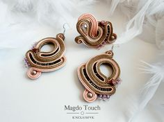 'Honey drops' One of a kind set made by order. #soutache #earrings #ring #jewelryset #magdotouch #artostic #jewelry