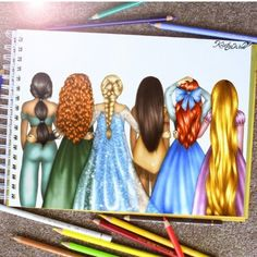Disney Princesses' hairstyles by Kristina Webb