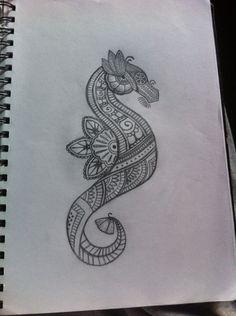 #mendhi #style #seahorse #tattoo