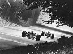 Jim Clark (Lotus-BRM 43) following Ludovico Scarfiotti (Ferrari 312/66) - Italian GP 1966