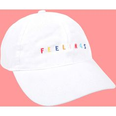 UNIF Feelings Cap (1,490 DOP) ❤ liked on Polyvore featuring accessories, hats, embroidered hats, cap hats, embroidery hats, embroidered caps and unif