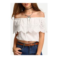 SheIn(sheinside) Off-The-Shoulder Embroidery Ruffled Blouse ($14) ❤ liked on Polyvore featuring tops, blouses, white, white crop top, white ruffle blouse, ruffle blouse, lace blouse and ruffle collar blouse
