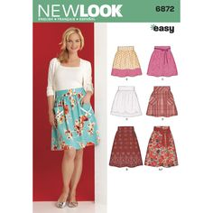 Misses skirts in 5 styles with variations for hem treatment, pockets, sash, and length. New Look sewing pattern.