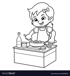 Girl cooking to make delicious food bw vector image on VectorStock Cartoon Boy, Cartoon Pics, Chibi Characters, Cute Characters, Coloring Pages For Kids, Coloring Books, Doodle Borders, Love Doodles, Human Drawing