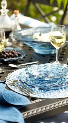 Bold, fresh and modern, our Indigo Dinnerware features dramatic texture and lots of dimension. These navy-blue plates, platters and bowls are great for buffets, chips and dip, salads and any other daily use. | Frontgate: Live Beautifully Outdoors