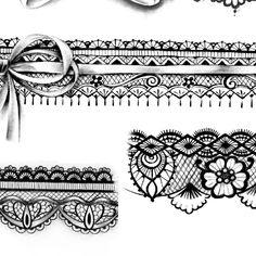 Lip Print Tattoos, Top Tattoos, Sleeve Tattoos, Lace Tattoo Design, Free Tattoo Designs, Compass Tattoo, Lace Garter Tattoos, Tattoo Filler, Sexy Tattoos For Women