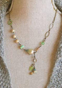 Candice. romantic,pearl,swarovski crystal,rhinestone drop necklace. Tiedupmemories