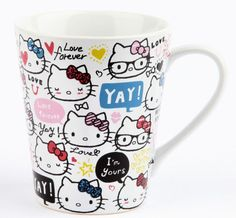 Hello Kitty 14 oz Ceramic Mug: Love Forever from Sanrio. Saved to Epic Wishlist. Hello Kitty Items, Sanrio Hello Kitty, Hello Kitty Kitchen, Wonderful Day, Hello Kitty Collection, Living Dolls, Cute Mugs, Here Kitty Kitty, Mug Cup