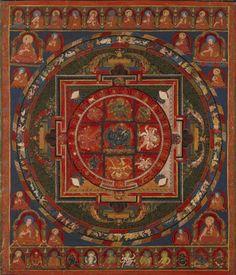 Mandala of Thirteen-deity Yama Dharmar& Tibet, century Mandala Drawing, Mandala Painting, Mandala Art, Tibetan Mandala, Tibetan Art, Tantra Art, Thangka Painting, Spiritual Images, Buddhist Art