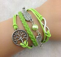 Designer Inspired Multi-strand Cord Bracelet, Faux Leather, Men, Womens, Boys or Girls Bracelet. 3pcs Infinity and Tree of Life Lime Green Bracelet. Silver Wings Charm Bracelet. Multi Strand Bracelets,http://www.amazon.com/dp/B00EIOV4WC/ref=cm_sw_r_pi_dp_dMLlsb1BWD5A54GX