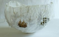 paper bowl with dried grass - Ines Seidel