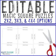 EDITABLE Games - 2x2, 3x3, or 4x4 Options! {Math, Literacy, Vocab, & MORE!} | 1st, 2nd, 3rd, 4th, 5th, 7th, 8th grade, Activities, English Language Arts, Fun Stuff, Games, Homeschool, Kindergarten, Math, Middle School, PreK Math Literacy, Teaching Kindergarten, 4x4, Reading Recovery, Ell Students, Magic Squares, Make Your Own Puzzle, 4th Grade Classroom, 21st Century Skills