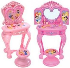 Brinquedo Disney Princess Vanity Table Lights and Sounds with Stool and Accessories #Brinquedo #Disney