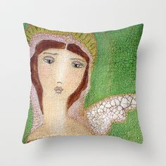 New! Angel with One Wing by Flor Larios Throw Pillow by Flor Larios Art - $20.00