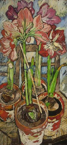 """""""Four Amaryllis in Pots"""", John Bratby, Bolton Museum and Art Gallery Art And Illustration, Illustrations, Art Floral, John Bratby, Still Life Art, Art Uk, Your Paintings, Love Art, Painting Inspiration"""