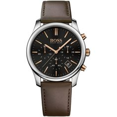 1fa25ff3 Boss Hugo Boss Men's Chronograph Time One Brown Leather Strap Watch... (€