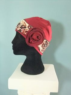 Snip-Rip-Hooray, maroon chemo hat with flower headband free pattern, free chemo cap pattern
