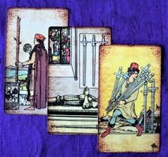 Advice for 2 of Wands, 4 of Swords and 7 of Swords tell us to slow down and focus on the relevant! Time to compile a list of priorities…? Excess Baggage, Tarot Readers, Tarot Decks, Peace Of Mind, Priorities, Wands, Pixie, Creative, Painting
