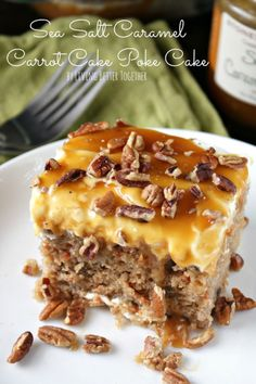 Sea Salt Caramel Carrot Cake Poke Cake...pinning for poke cake idea...SB Make GF carrot cake and do a cream cheese cheesecake frosting with coconut condensed milk...it's going to be out of this world! SB