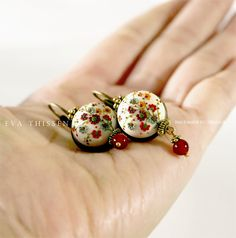 Stunning! I would wear these every day. SNOW WHITE beautiful handmade polymer clay earrings by EvaThissen, $55.00