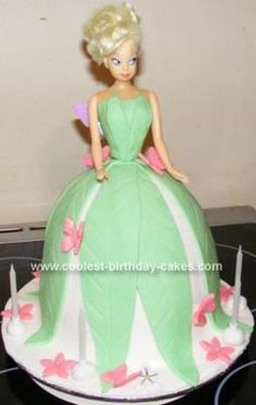 Pinner said: Homemade Tinkerbell Cake: I make all sorts of cakes for family and friends. My daughter requested a Tinkerbell cake for her birthday. I finally came up with the idea of making Tinkerbell