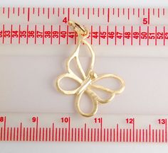 1 pc: Gold plated sterling silver butterfly pendant by JWbeads