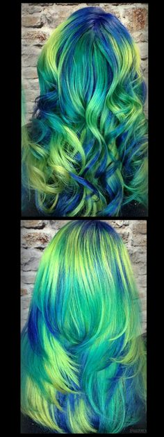 Green blue neon dyed hair inspiration idea @hairmenageries