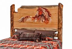 Western Log Bed with Horse Carved Headboard Cedar Furniture, Rustic Log Furniture, Cabin Furniture, Lodge Bedroom, Bedroom Rustic, Log Cabin Designs, Log Bed, Wood Headboard, Headboards