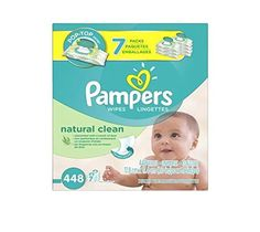 Pampers 448 Piece Natural Clean Baby Wipes, 7 Count