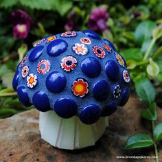 Tiny Navy Blue and Millefiori Cap Mosaic by brendapokorny on Etsy, $40.00