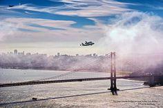 The Space Shuttle Endeavour Over Golden Gate Bridge
