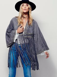 Free People Dramatic Sleeve Suede Kimono at Free People Clothing Boutique