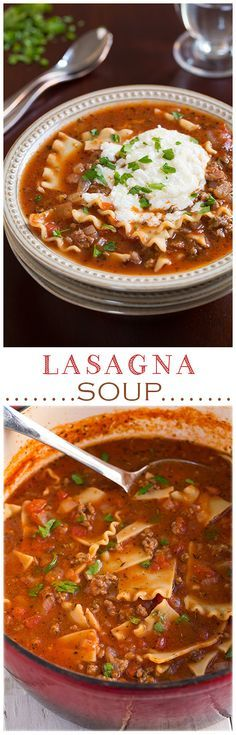 Lasagna Soup – Pinned over It's AMAZING to say the least! I like it even m… Lasagna Soup – Pinned over It's AMAZING to say the least! I like it even more than lasagna because it's not so heavy. A must try recipe! Think Food, I Love Food, Food For Thought, Good Food, Yummy Food, Tasty, Crockpot Recipes, Soup Recipes, Dinner Recipes