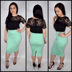 Tiffany Pencil Skirt - Mint – Devotion Boutique