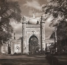 Archive black & white photograph of the entrance to the Royal Pavilion Gardens, Brighton, East Sussex Royal Pavilion, Store Image, Royal Residence, Days Like This, Brighton And Hove, East Sussex, Ol, Seaside, Taj Mahal