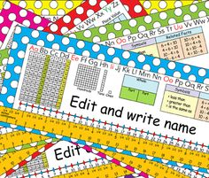 Back to school: 1st Grade Common Core Desk Plates with colorful dots — EDITABLE