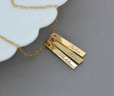 Name Necklace, Personalized Tag Necklace, Kids Name Necklace, Mothers Necklace with Childrens Names, Personalized Bar necklace