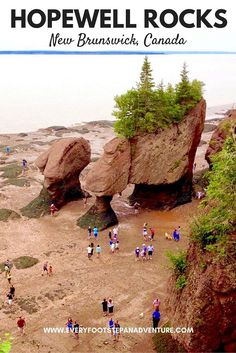 Twice a day one hundred billion tonnes of water flows in and out of the Bay of Fundy, creating the highest tides in the world. Let these photos convince you to visit Hopewell Rocks, a gorgeous destination along the Bay of Fundy in New Brunswick, Canada! East Coast Canada, Hopewell Rocks, New Brunswick Canada, East Coast Road Trip, Canadian Travel, Atlantic Canada, Destinations, Camping World, Rv Camping