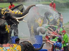 It's Songkran time in Thailand! In the past, water was used symbolically to wash away the bad and to bring good fortune, however now it is seen primarily as an enjoyable and giant water fight. Songkran marks the beginning of the traditional Thai New Year. #Songkran #Thailand #WaterFight Photo credit: bangkokscoop.com