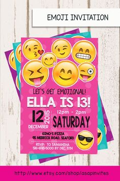 EMOJI BIRTHDAY INVITATION, Emojis, Emoji Invite, Collectibles, Girl, Digital File, Party, Diy, 3 Colors, Sweet 16 by Asapinvites on Etsy