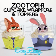 Its a zoo out there! Feed the beast with in these animated cupcakes inspired by Zootopia. Perfect for birthday parties and classrooms.  This