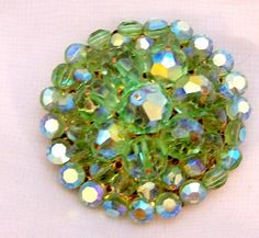 Vintage Green Crystal Rhinestone Domed Pin  50's by bitzofglitz4u, $45.00