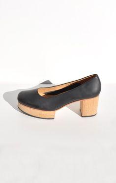 "A DÉTACHER MORRIS BALLET CLOG  Black leather ballet clog with wooden platform and heel. 1.375"" wooden platform. 3"" wooden heel with rubber sole.   Very comfortable to walk in."