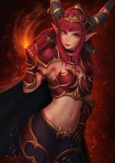 Dragon girl Alexstrasza the Life-Binder: World of Warcraft game fanart [Artist: Umigraphics] Fantasy Anime, Fantasy Dragon, Fantasy Warrior, Dark Fantasy Art, Fantasy Artwork, Final Fantasy, World Of Warcraft Game, Warcraft Art, World Of Warcraft Characters